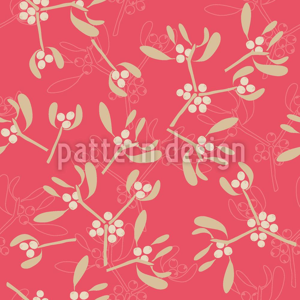 Designtapete Mistelzweige Pink