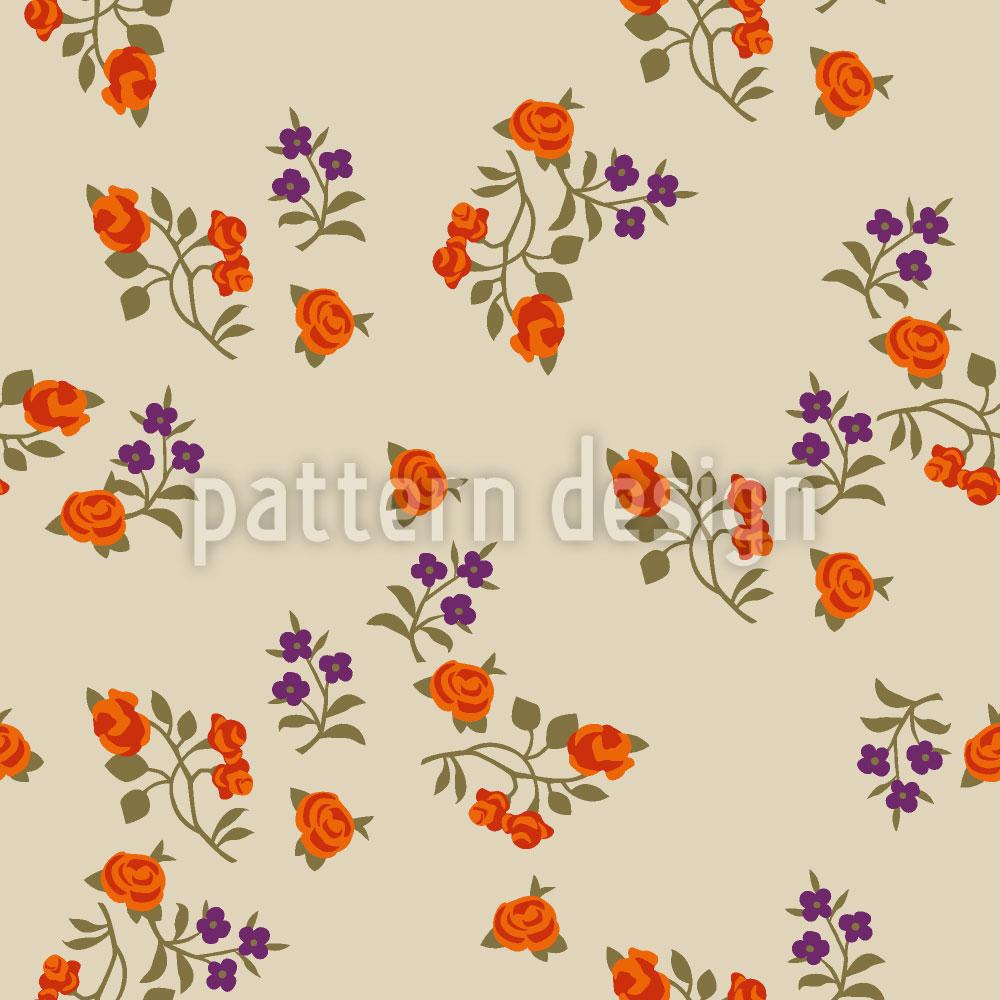 Designtapete Streublumen Auf Beige