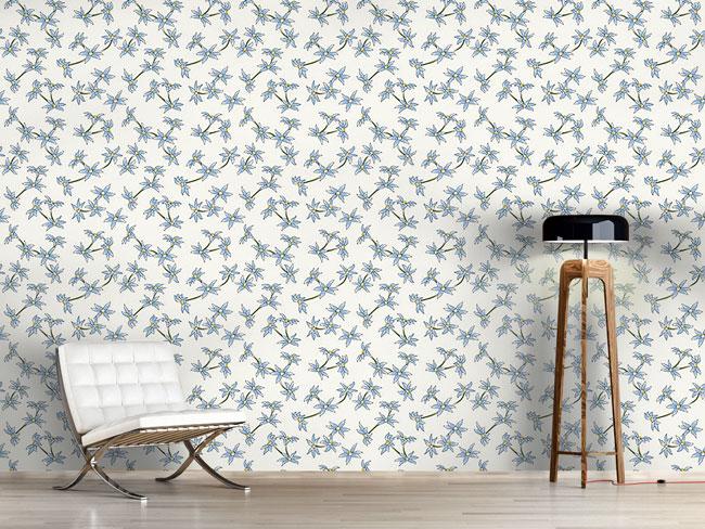 Designtapete Blauer Blumenregen