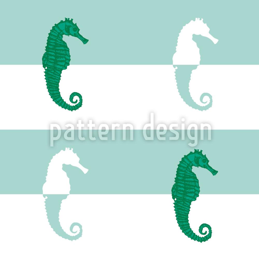 Designtapete Seepferdchen Auf Streifen