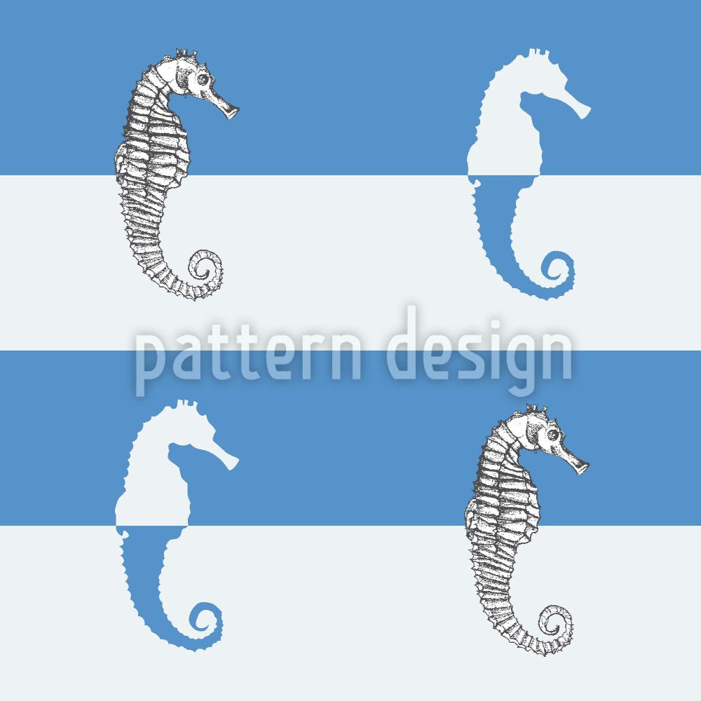 Designtapete Seepferdchen Auf Blaustreif