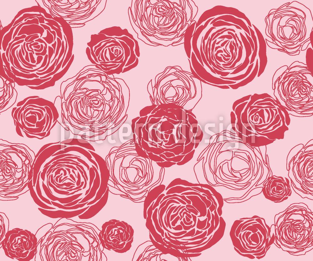 Designtapete Rosenblüten Rot-Rosa