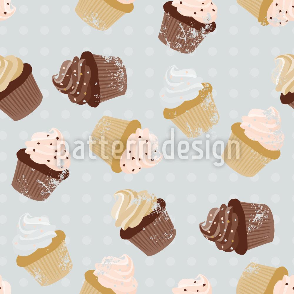Designtapete Cupcakes Grau