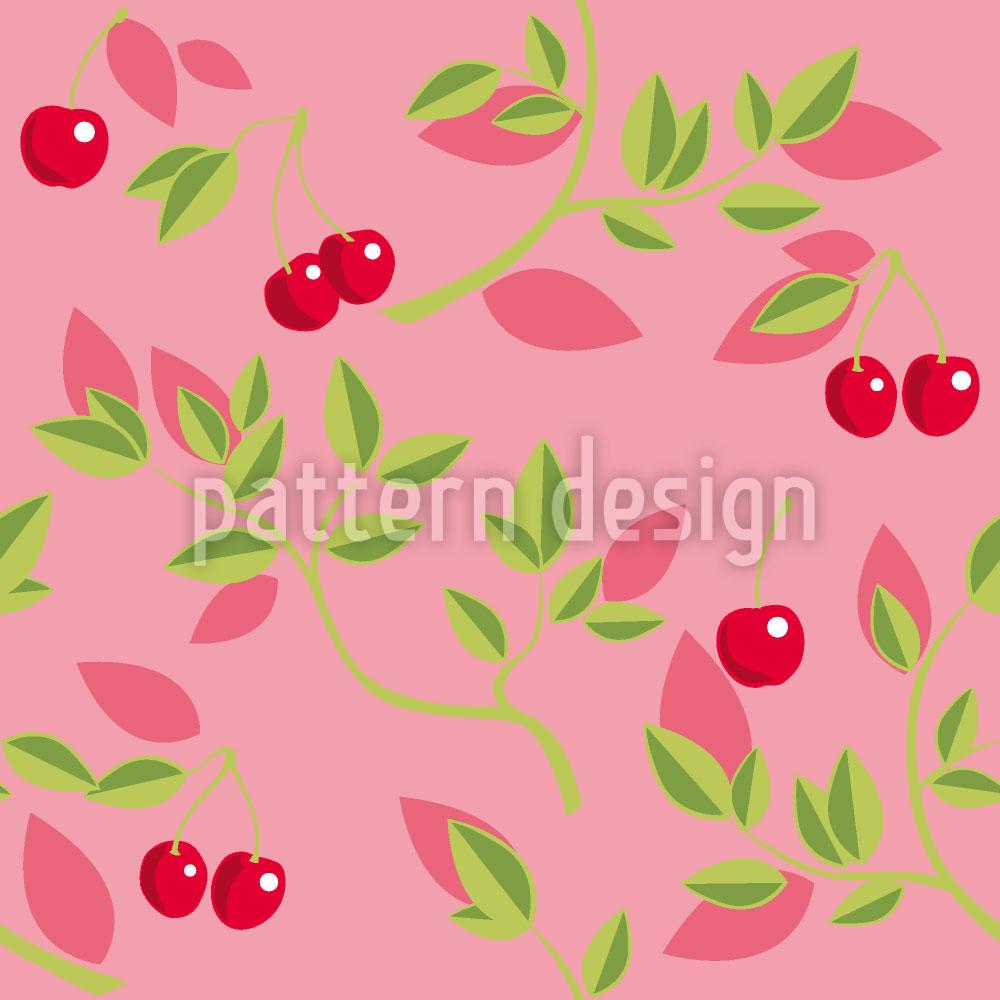 Designtapete Kirschenzweige Pink
