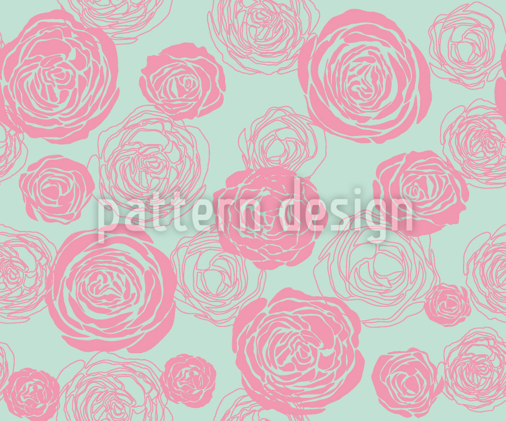 Designtapete Rosenblüten Rosa-Mintgrün