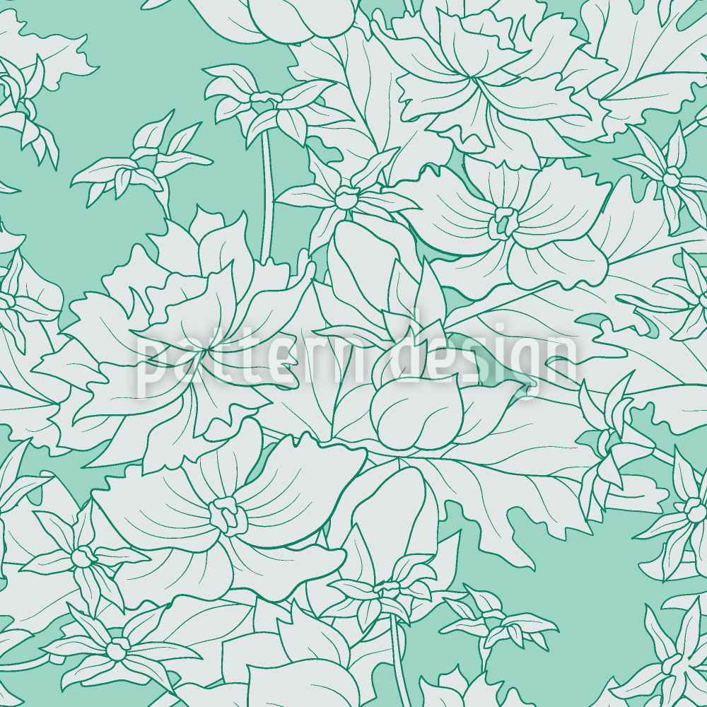 Designtapete Vintage Blumen Minze