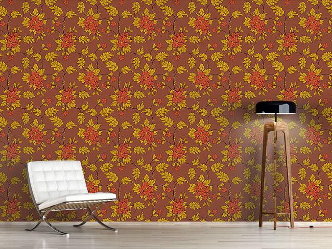 Designtapete Bouquet Mocca