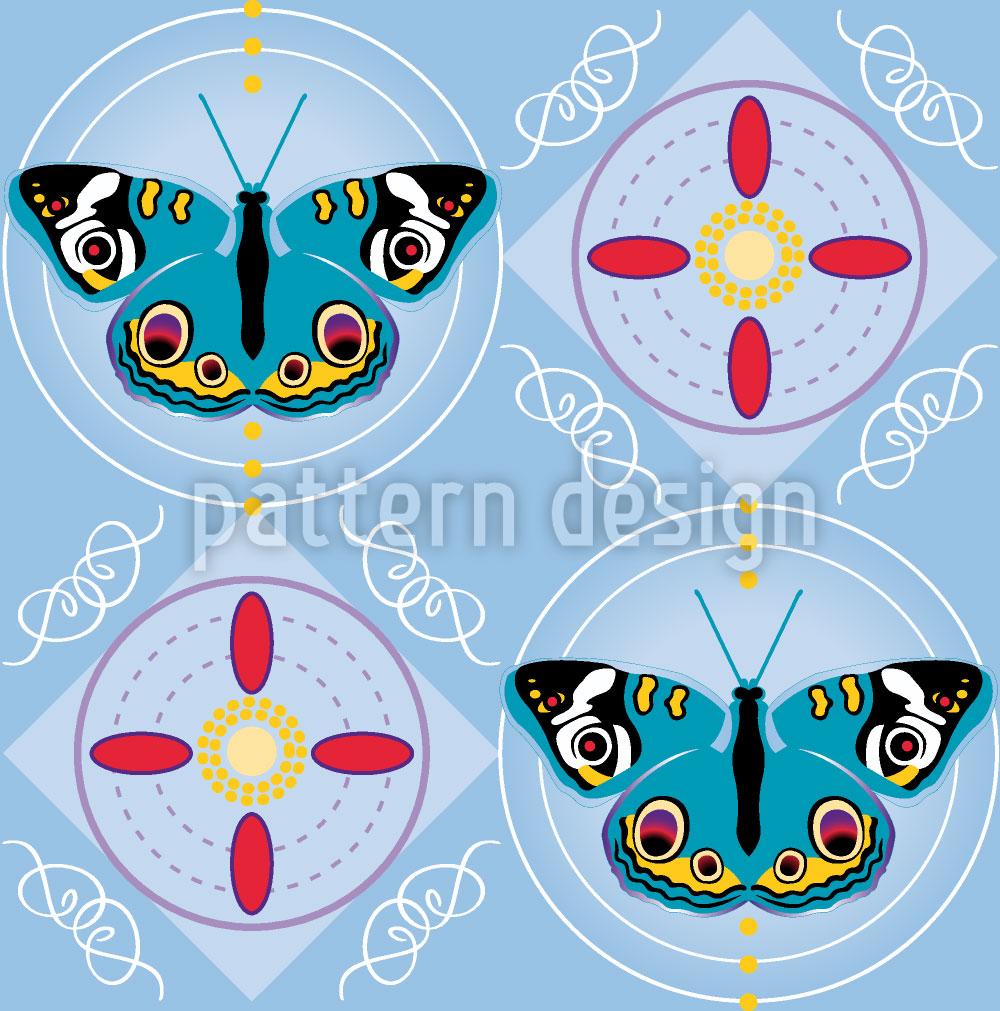 Designtapete Tagpfauenauge Blau
