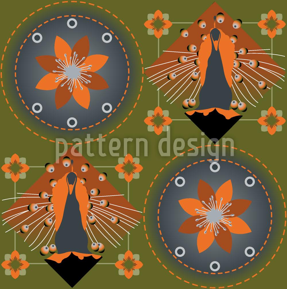 Designtapete Pfau und Blüten Grün