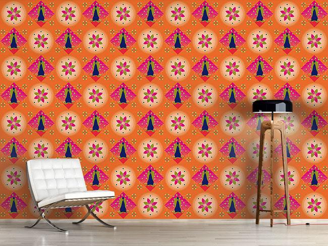 Designtapete Pfau und Blüten Orange