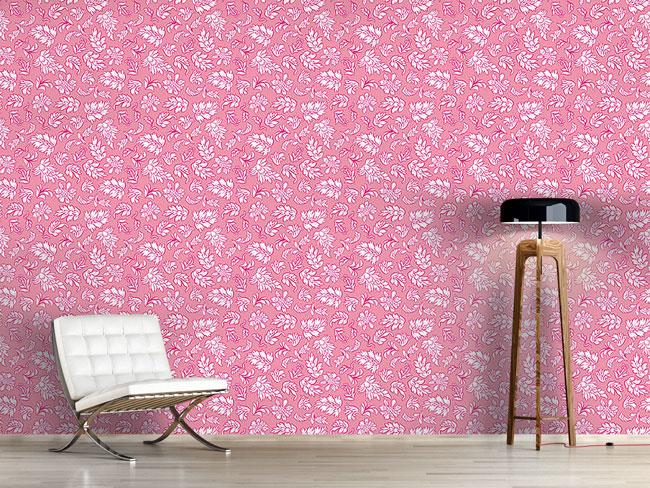 Designtapete Blattwerk Rosa