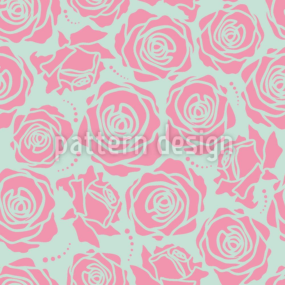 Designtapete Rosenblüten Stilisiert