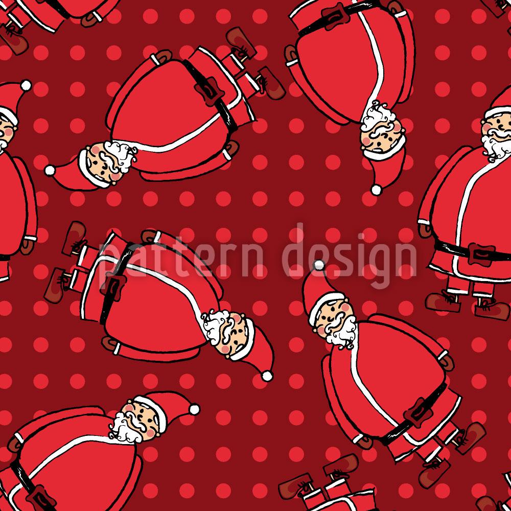 Designtapete Dotty Santa Rot
