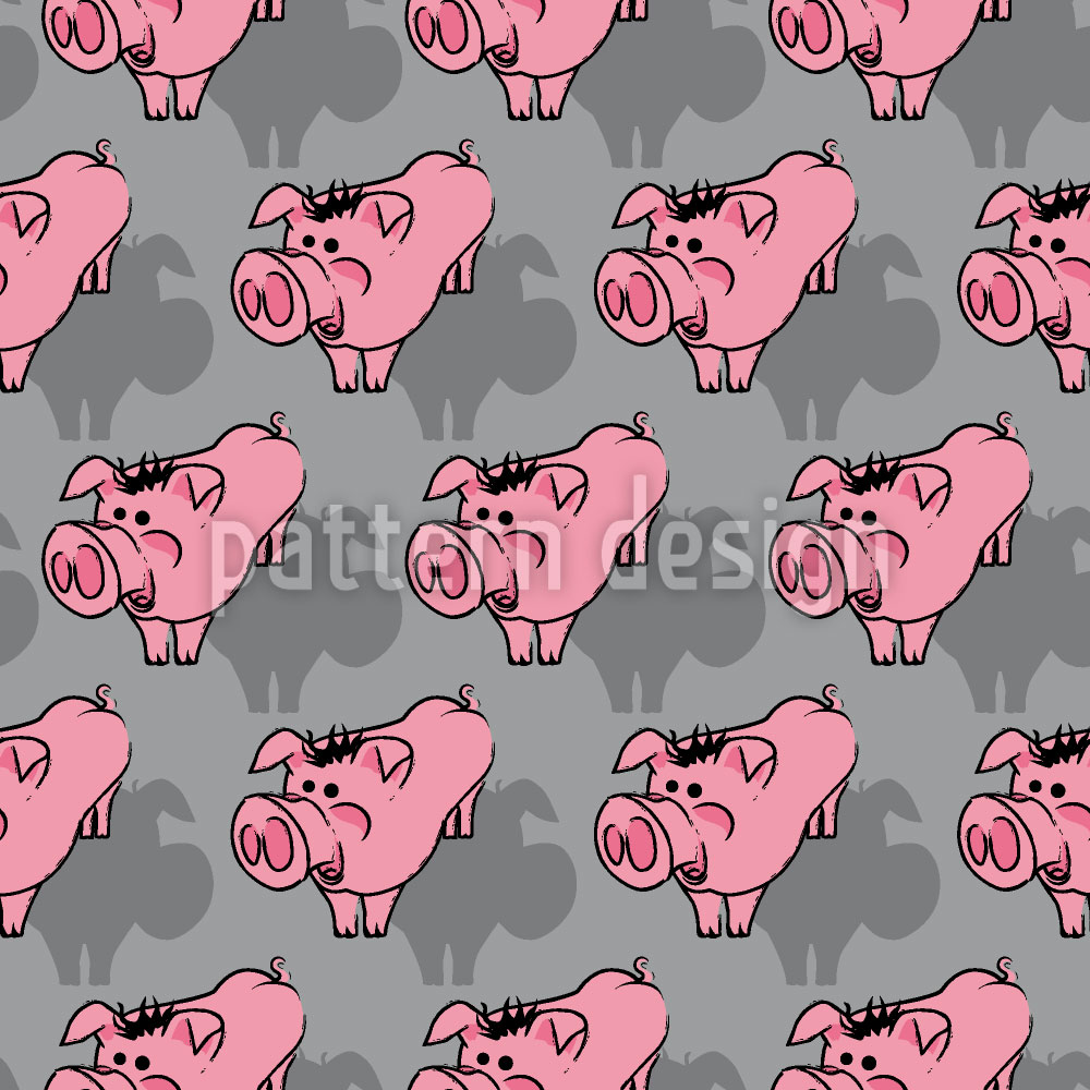 Designtapete Schweinchen Grau