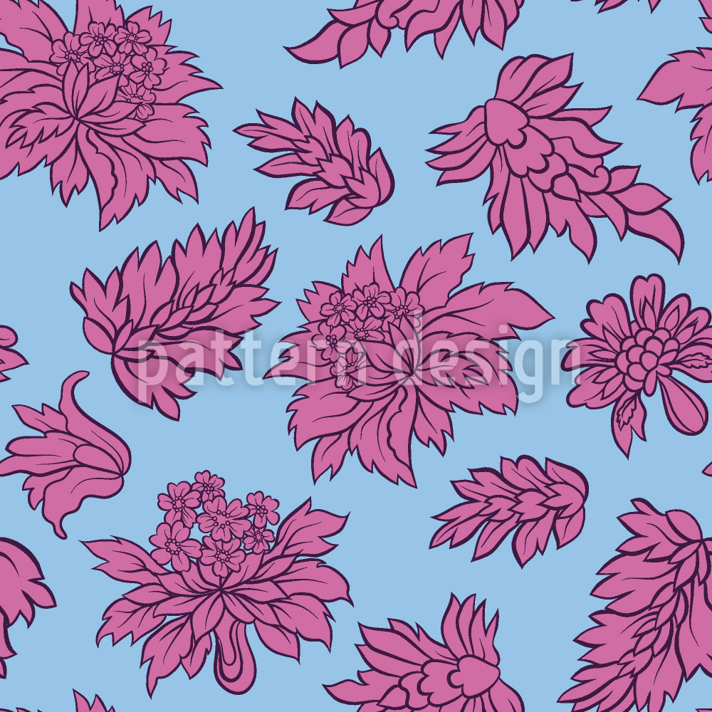 Designtapete Barock Blüte Blau