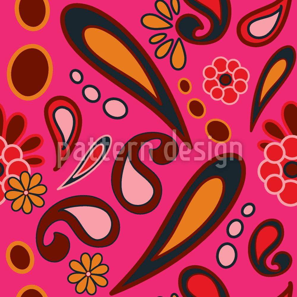 Designtapete Beebob Paisley Fuchsia