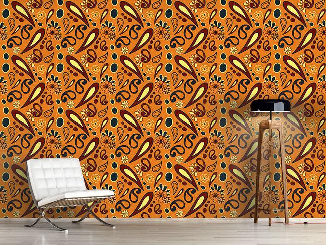 Designtapete Beebob Paisley Orange