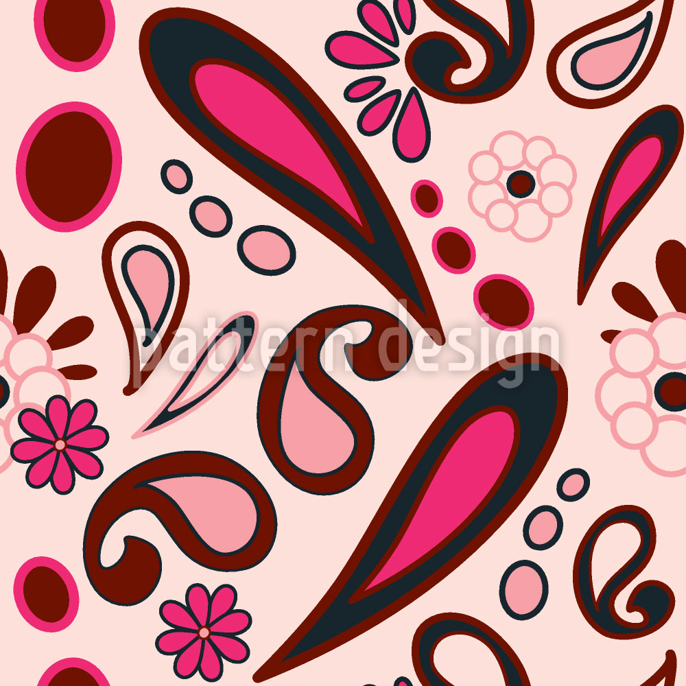Designtapete Beebob Paisley Pink
