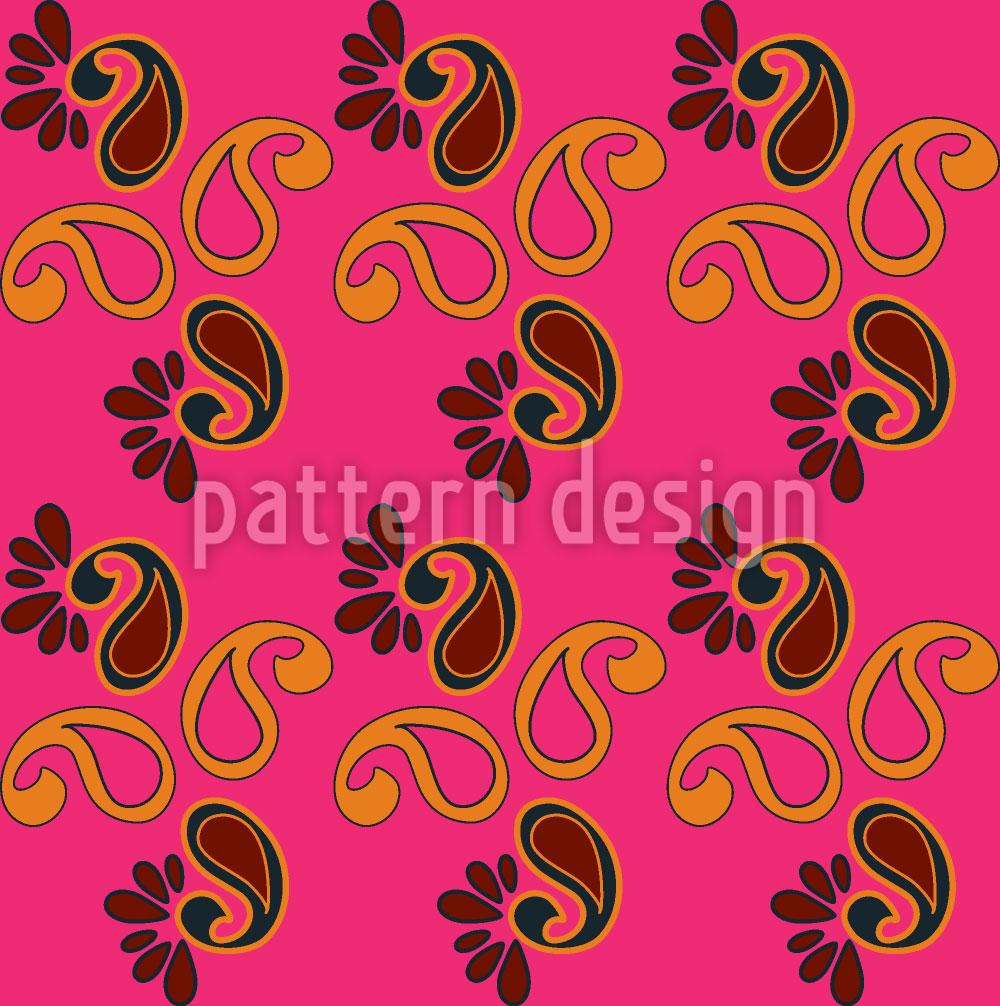 Designtapete Fancy Paisley Fuchsia