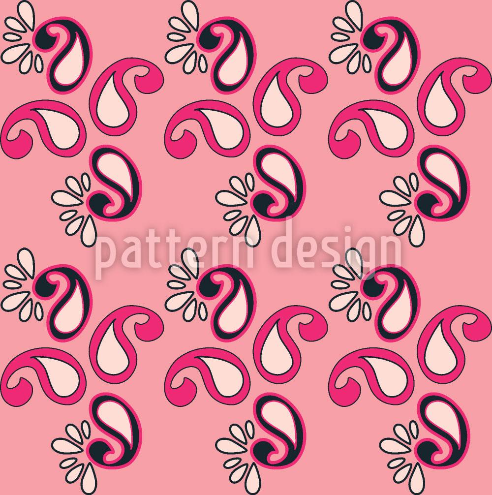 Designtapete Fancy Paisley Pink