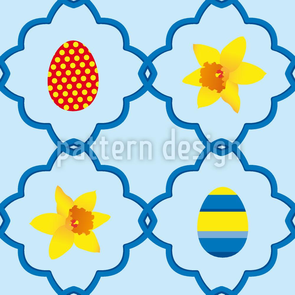 Designtapete Narzissen Zu Ostern Blau