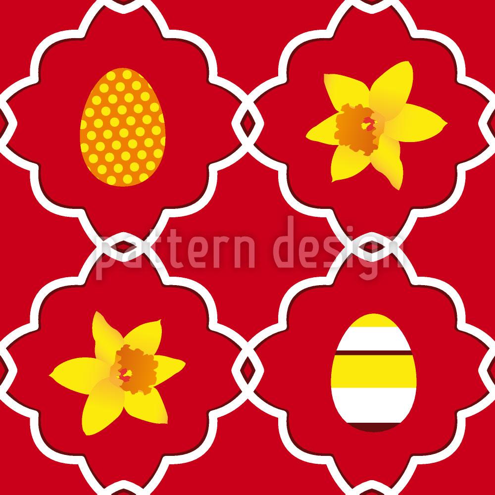 Designtapete Narzissen Zu Ostern Rot