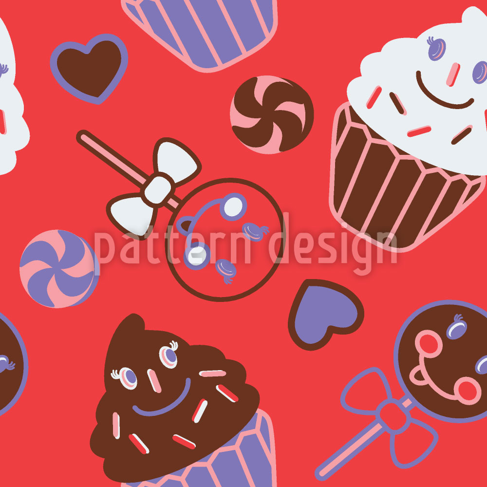 Designtapete Happy Desserts Rot