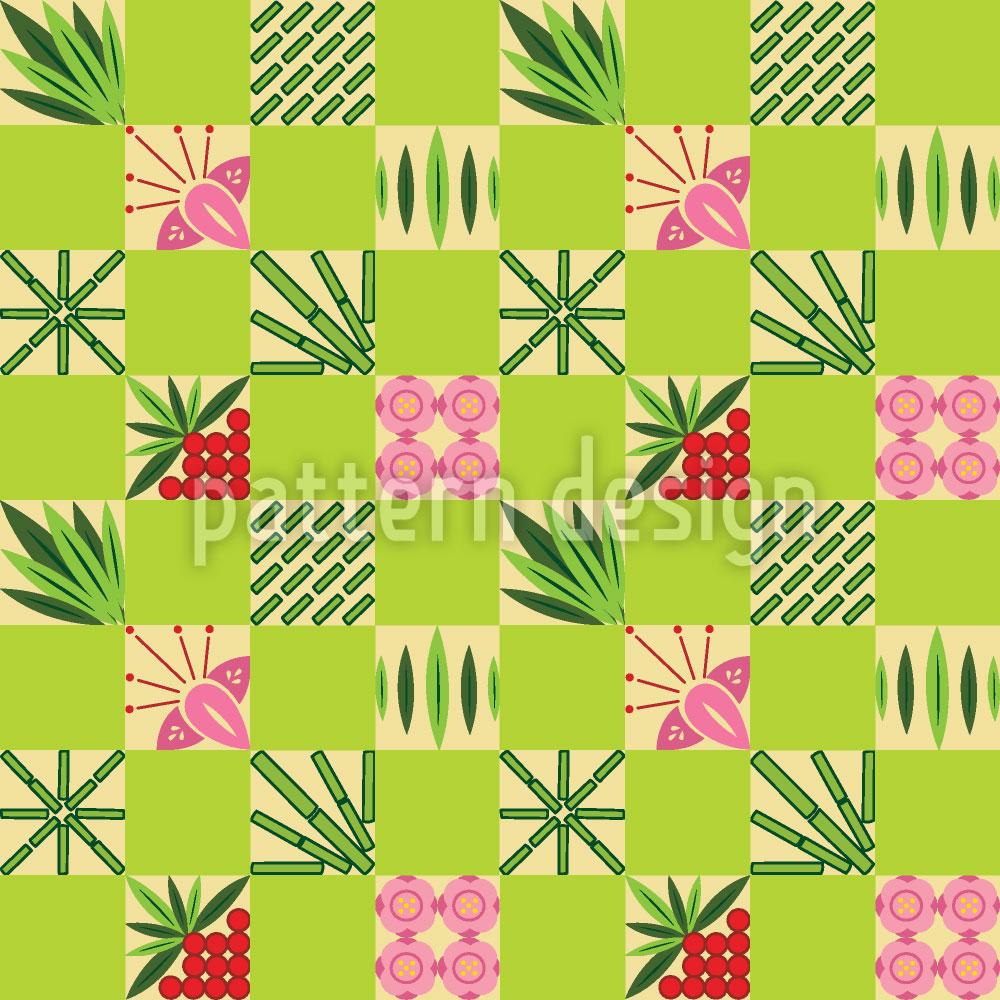 Designtapete Kariertes Bambus Muster