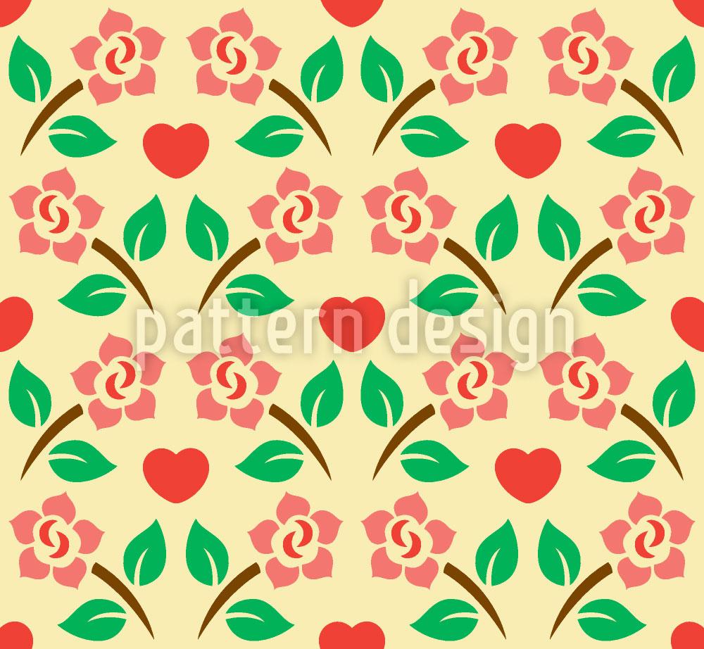 Designtapete Herzen Und Rosen