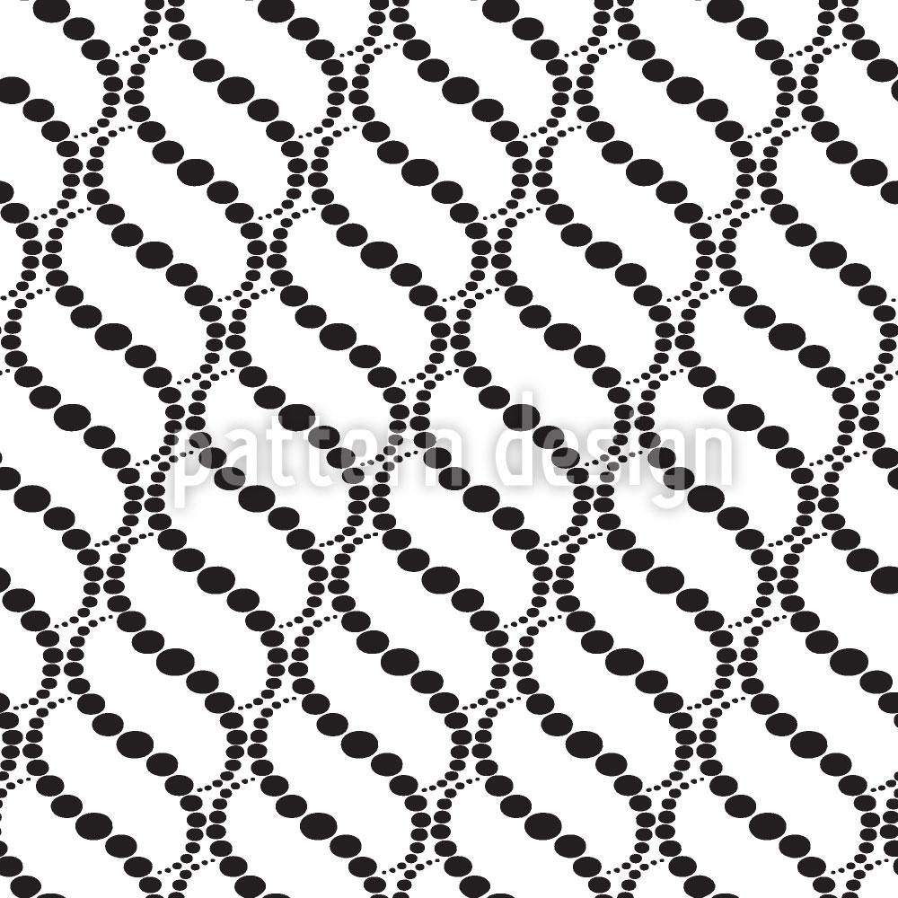 Designtapete Wellige Punkte Auf Weiss