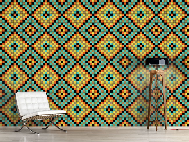 Designtapete Bunte Mosaik Fliesen