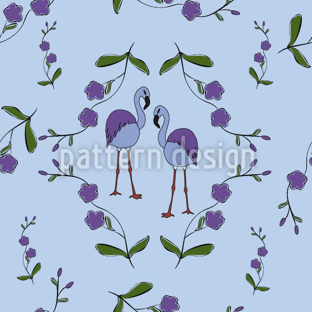 Designtapete Flamingos Unter Blüten