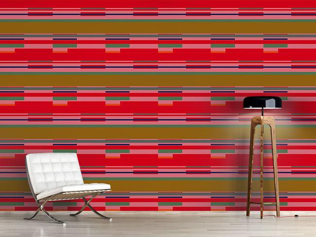 Designtapete Streifen Rot Und Pink