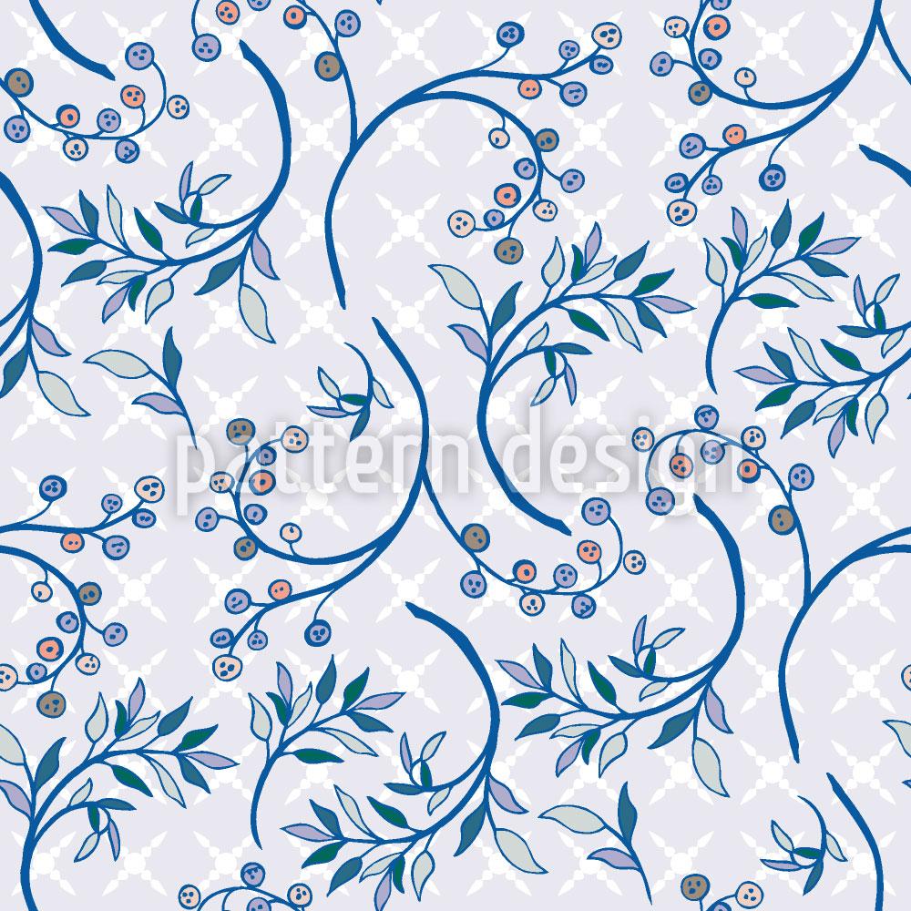 Designtapete Heidelbeeren Blau