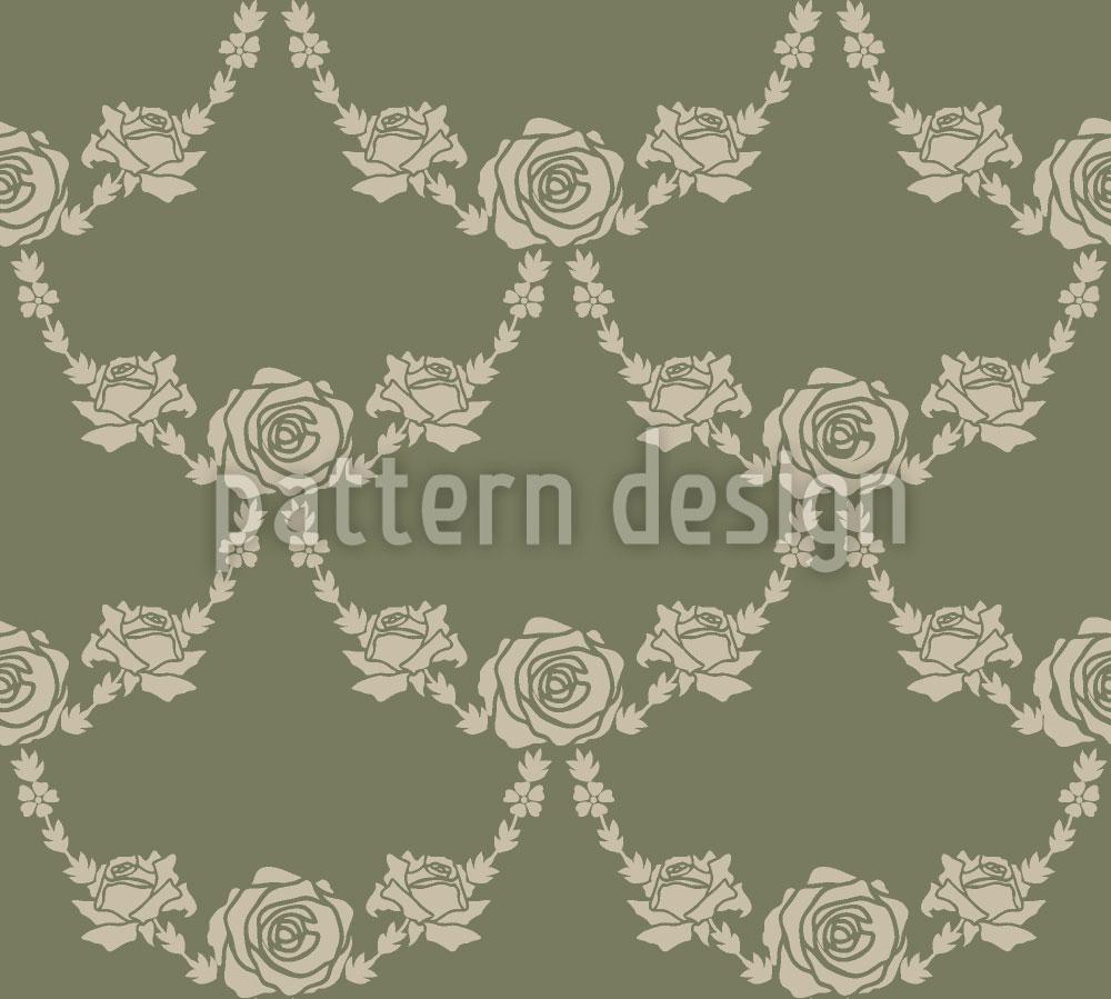 Designtapete Englische Rosen Grün