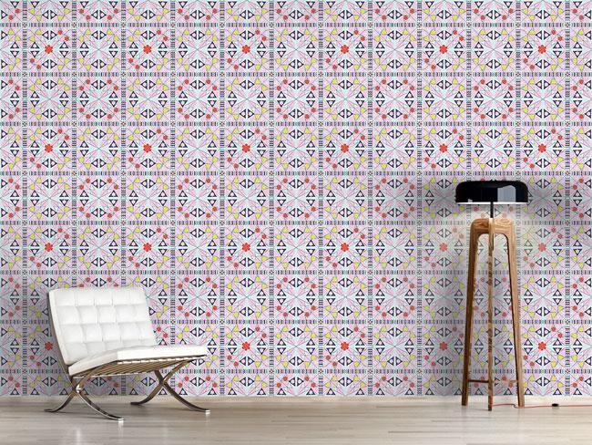 Designtapete Mosaik Mit Blumen