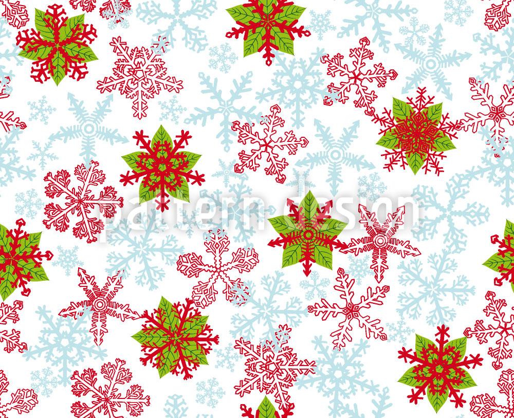 Designtapete Weihnachtskristalle Eisblau