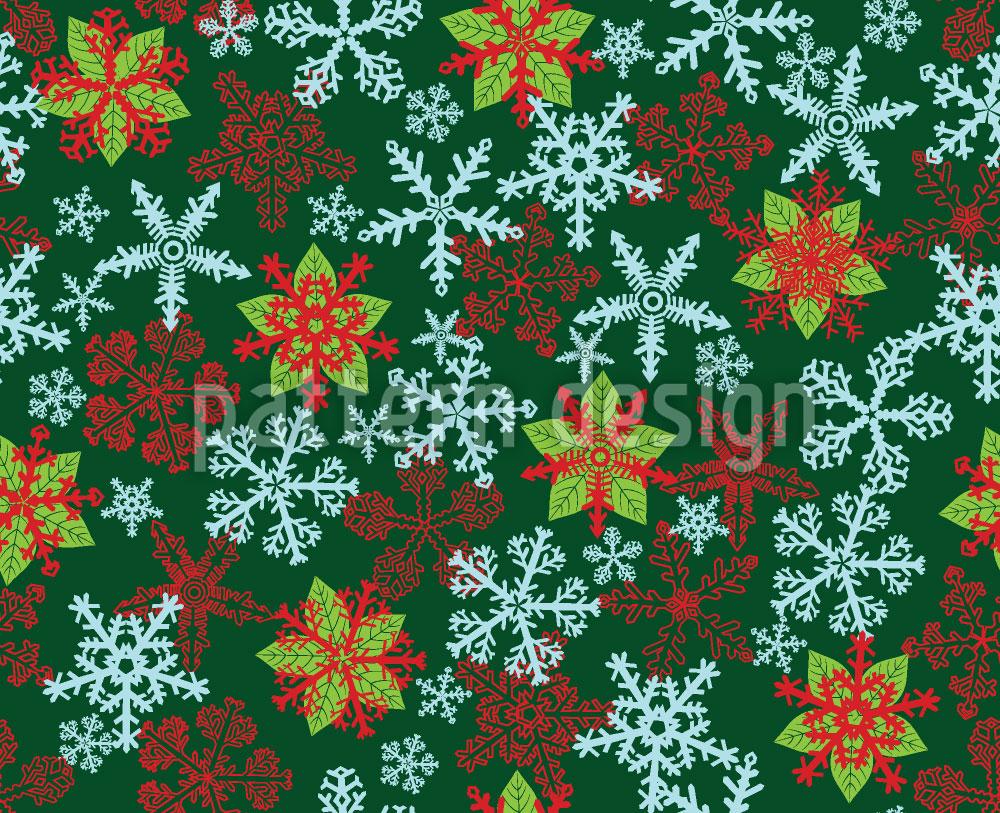 Designtapete Weihnachtskristalle Grün