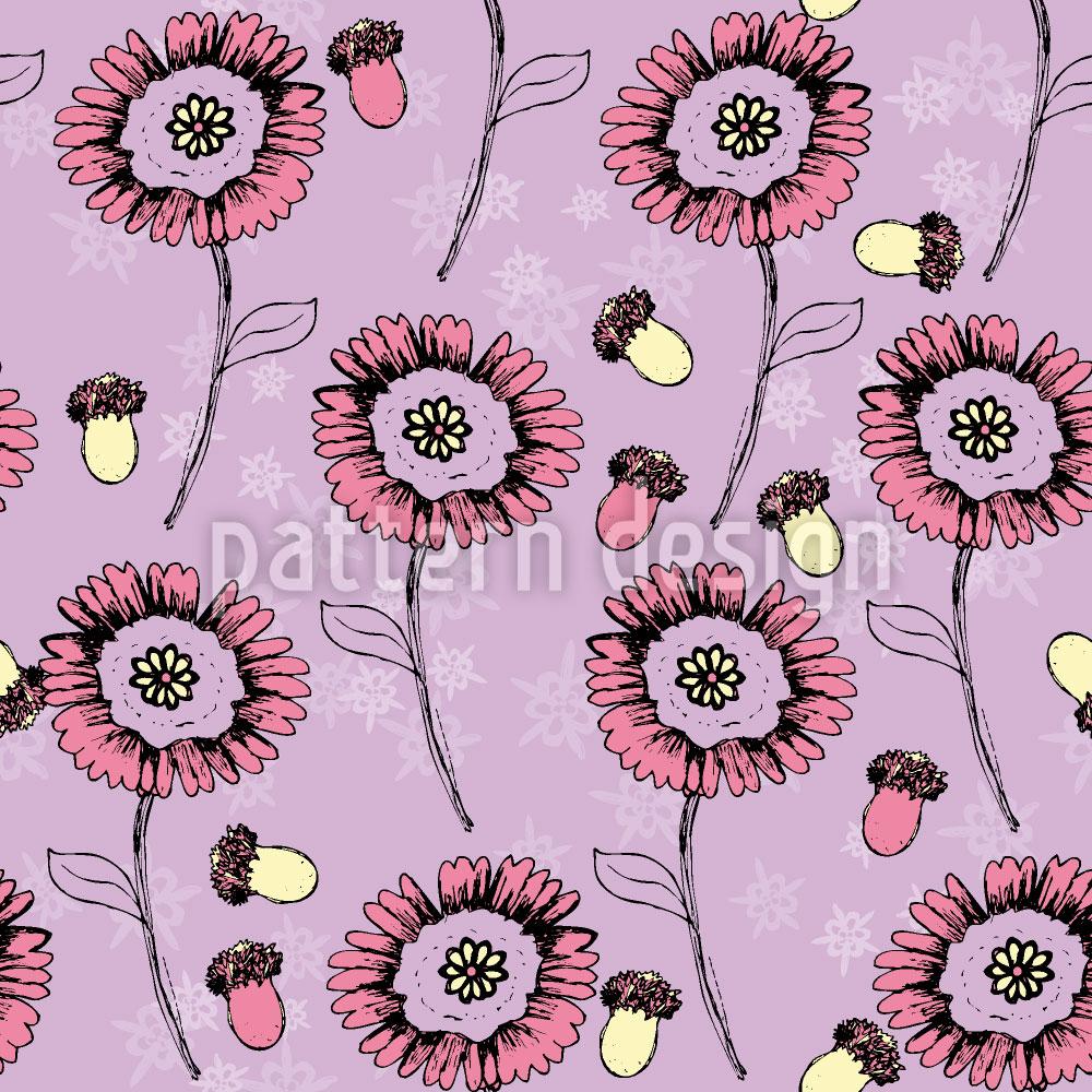 Designtapete Boheme Fantasieblumen Lavendel