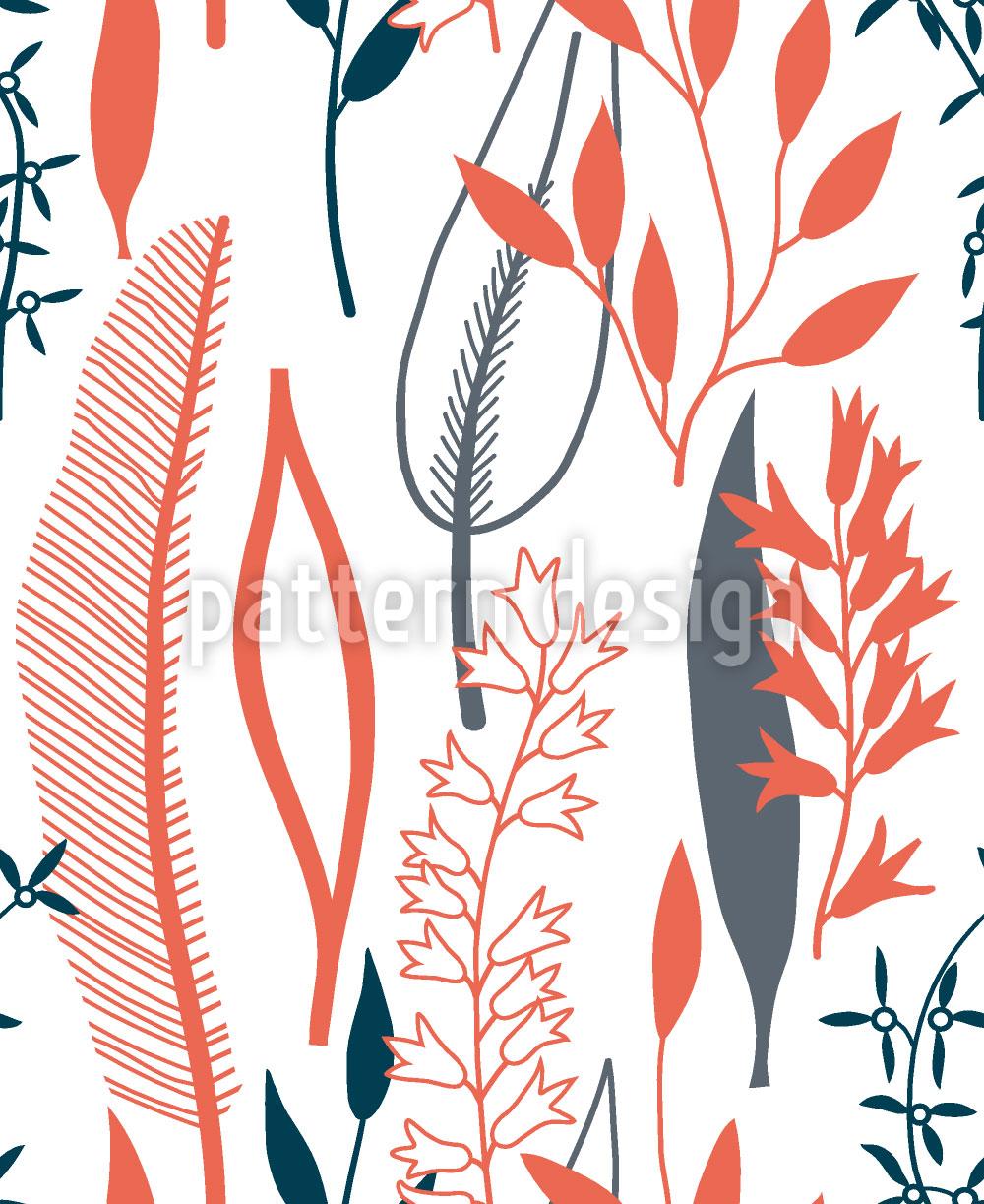 Designtapete Blätter Silhouetten