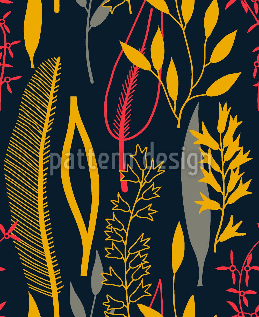 Designtapete Blätter Silhouetten Schwarz