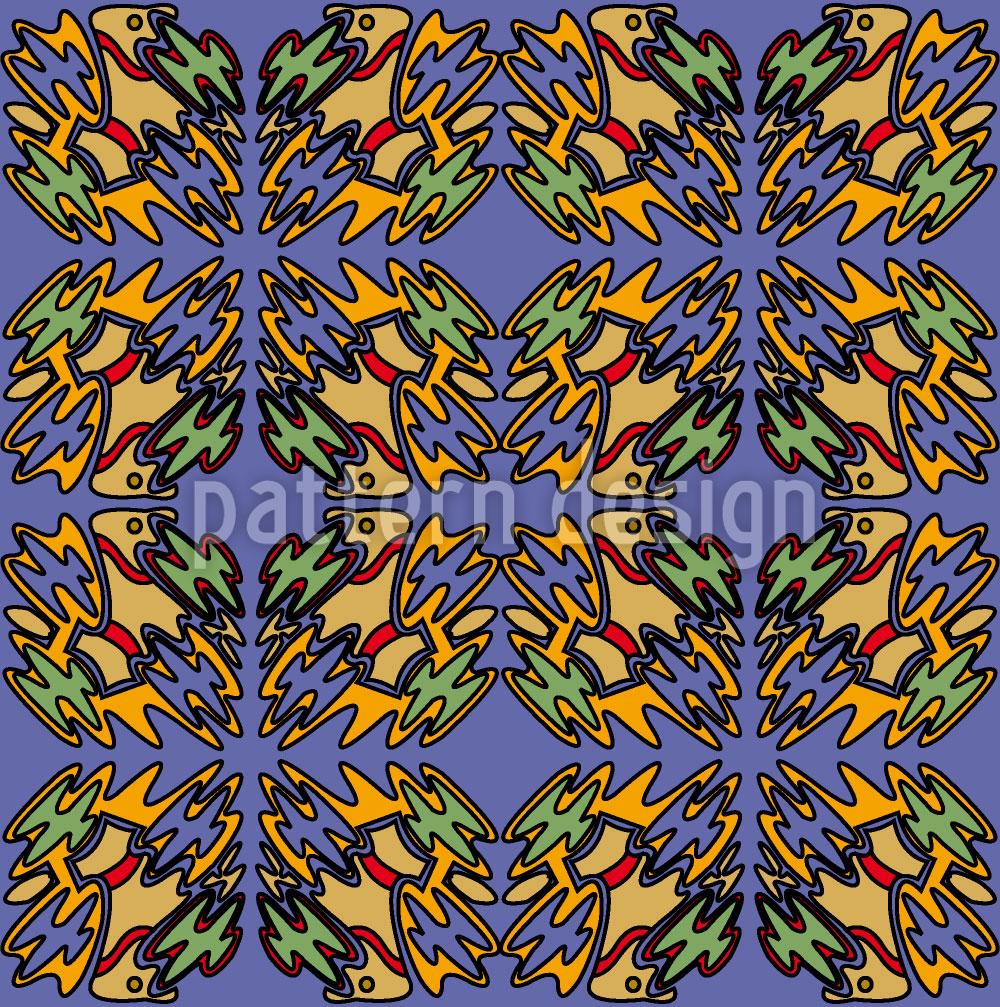 Designtapete Ethno Vogel Blue