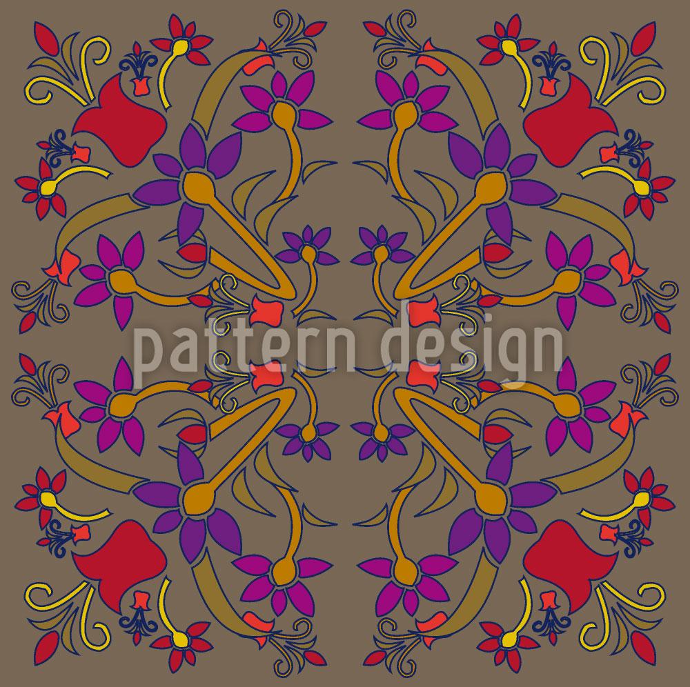Designtapete Orientalische Blumen