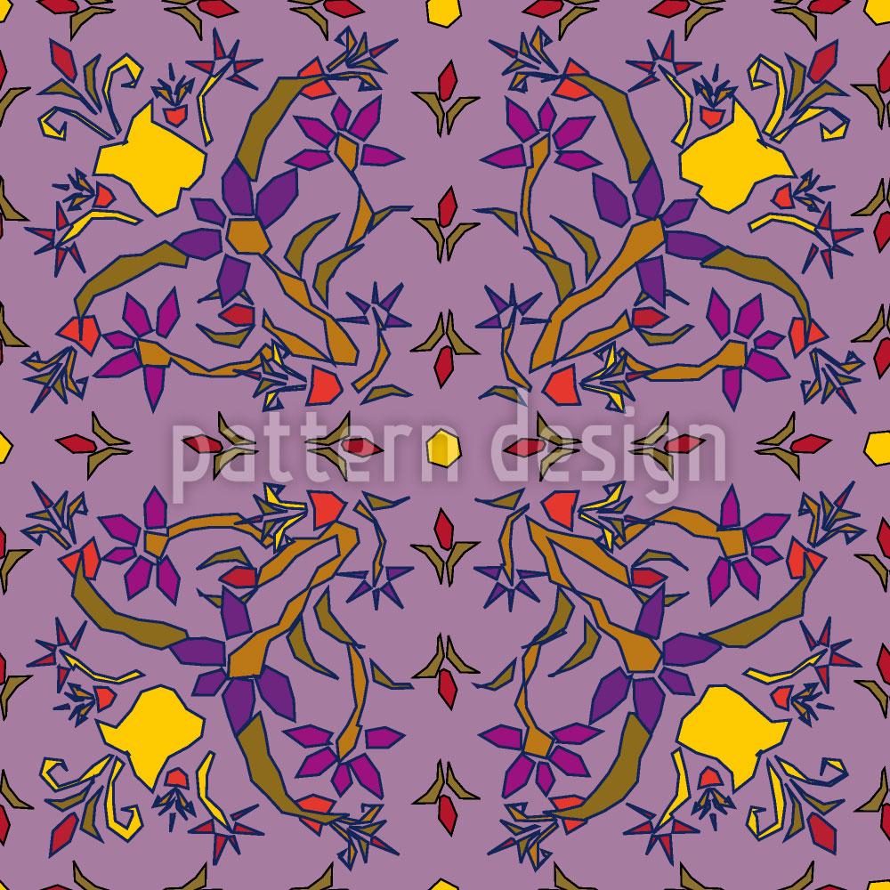 Designtapete Symmetrische Fantasieblumen