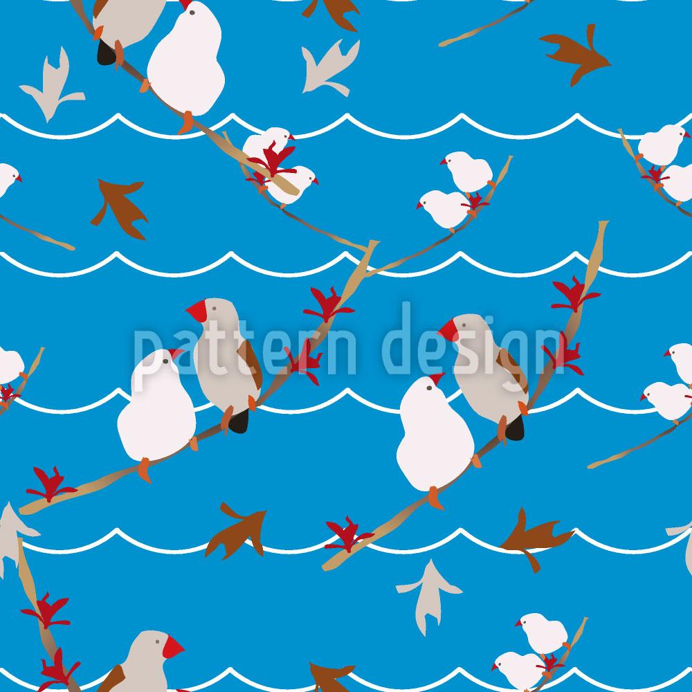 Designtapete Lovebirds Blau
