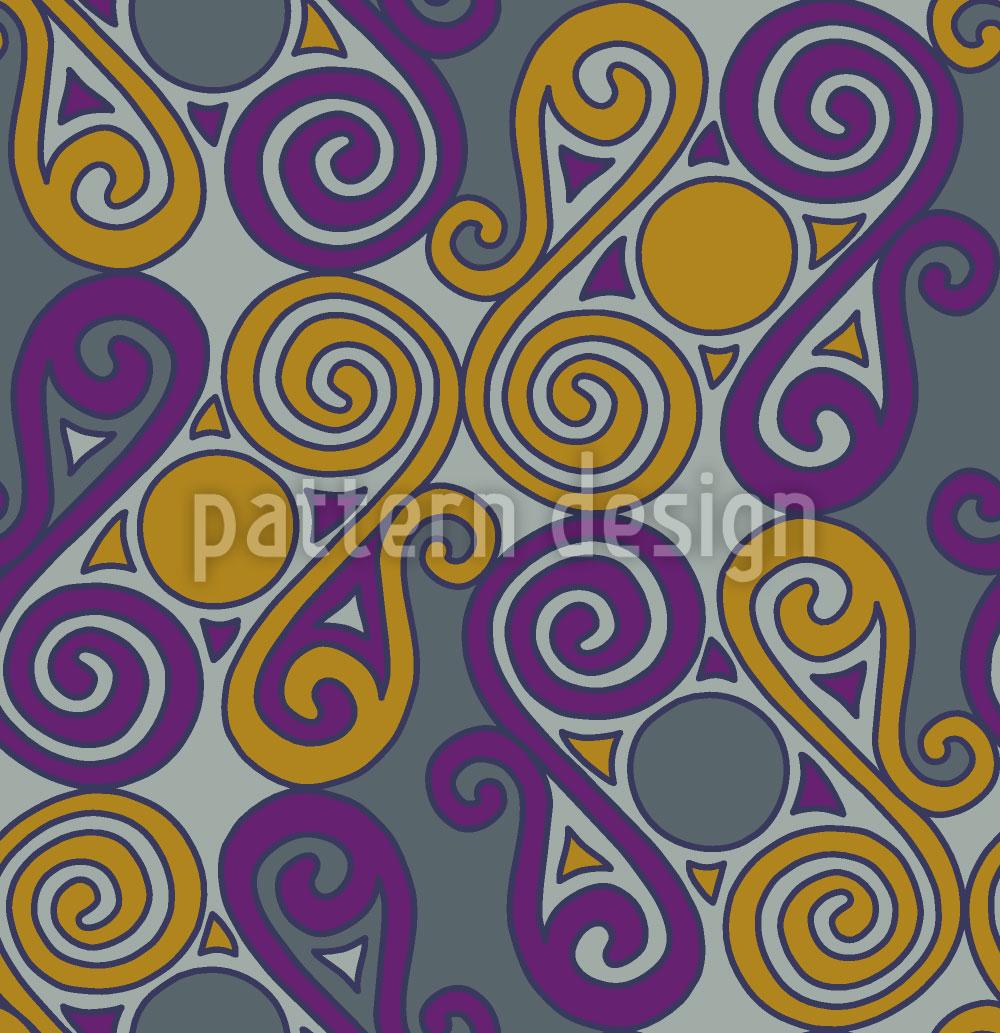 Designtapete Cucuteni Spiralen Grau