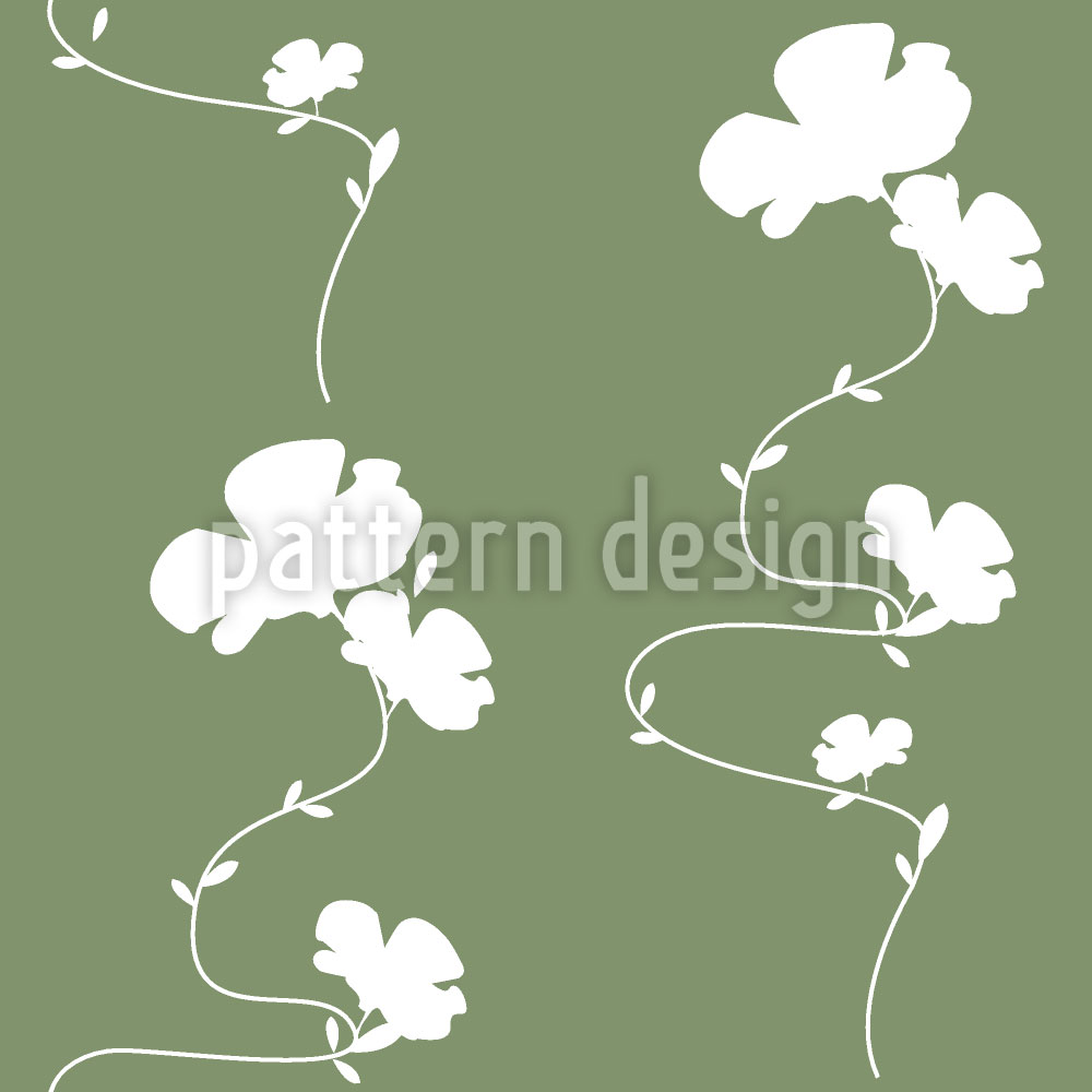 Designtapete Romantisches Blumenmuster Grün