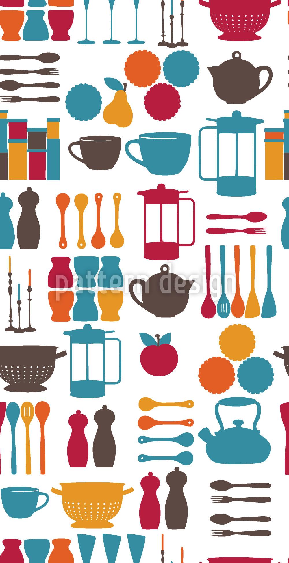 Designtapete Küchenfee Blau