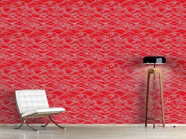 Designtapete Wellenlängen Rot Weiss