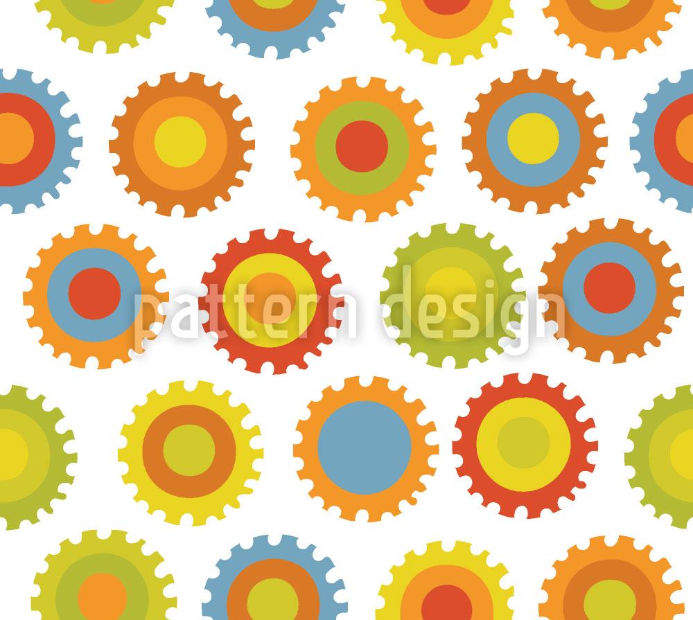 Designtapete Zahnräder Color